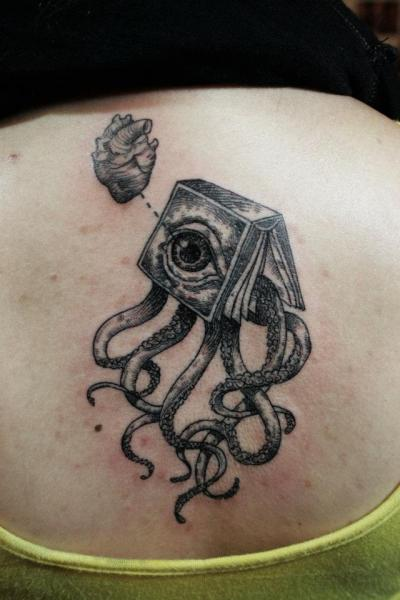 Back Dotwork Octopus Book Tattoo by Ottorino d'Ambra