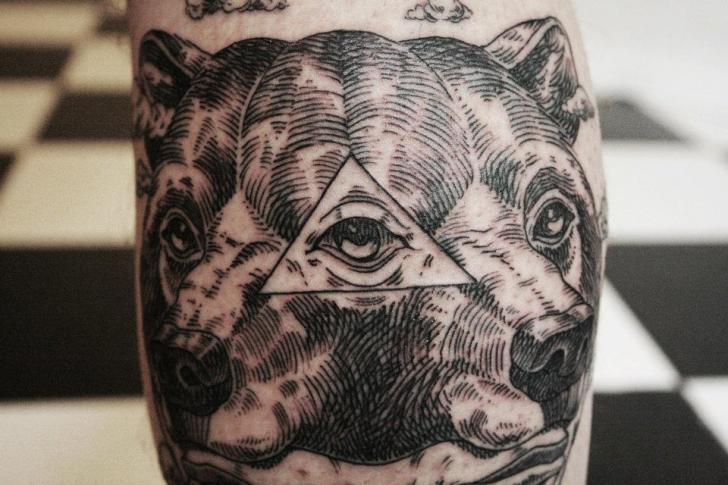 Bear God Dotwork Tattoo by Ottorino d'Ambra