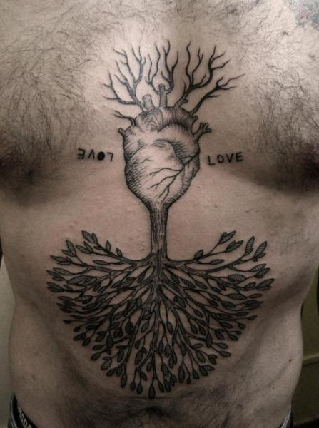 Chest Heart Belly Dotwork Tree Tattoo by Ottorino d'Ambra