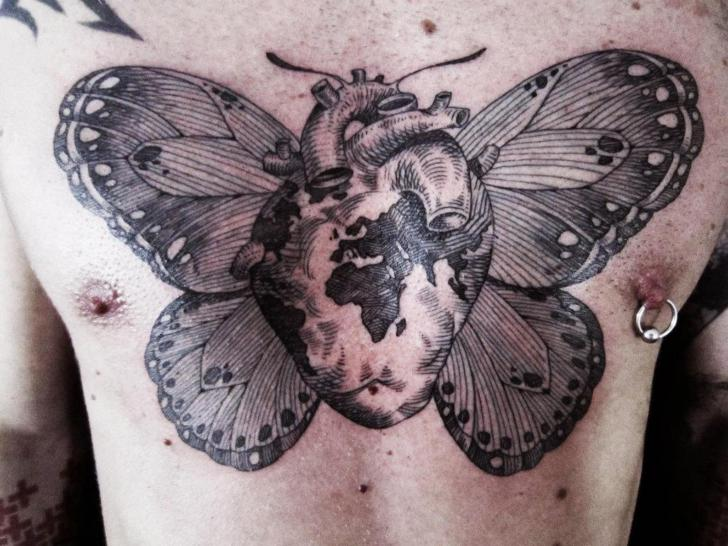 Chest Heart Butterfly Dotwork Tattoo by Ottorino d'Ambra