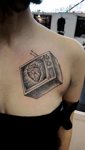 Chest Heart Television Tattoo by Ottorino d'Ambra