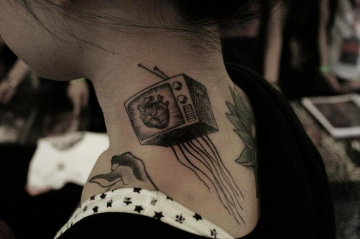 Heart Neck Television Tattoo by Ottorino d'Ambra