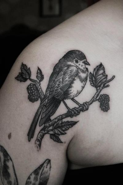 Shoulder Bird Tattoo by Ottorino d'Ambra