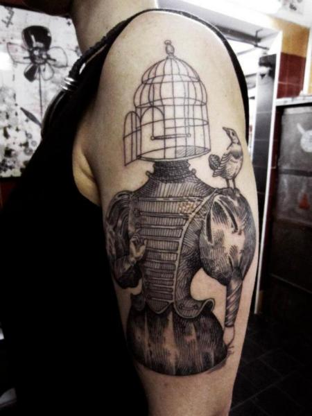 Shoulder Dotwork Bird Cage Tattoo by Ottorino d'Ambra