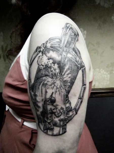 Shoulder Robot Dotwork Tattoo by Ottorino d'Ambra