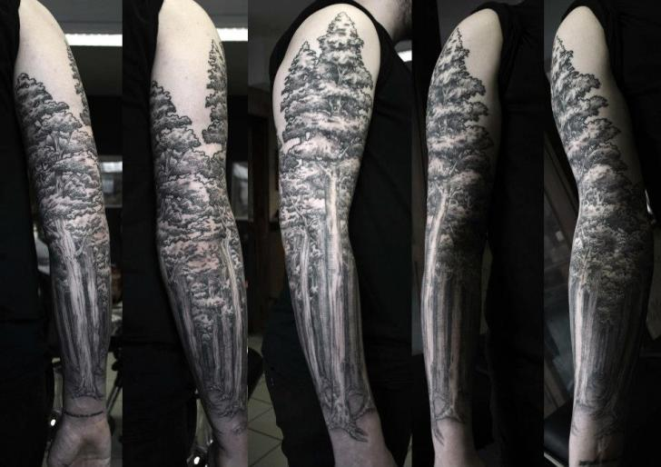 Dotwork Tree Sleeve Tattoo by Ottorino d'Ambra
