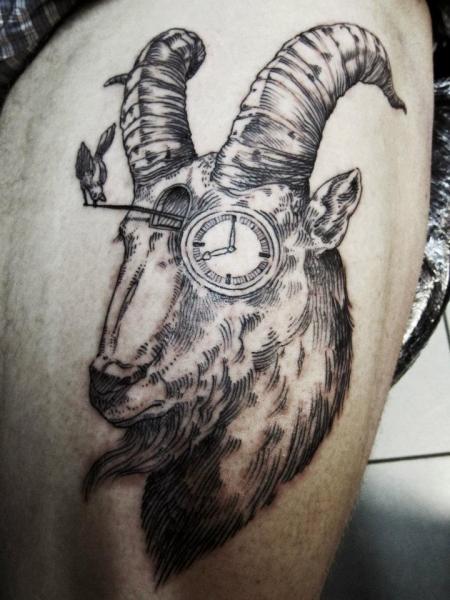 Clock Goat Thigh Tattoo by Ottorino d'Ambra