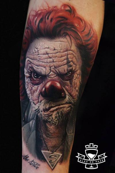 Arm Realistic Clown Tattoo by Alex de Pase