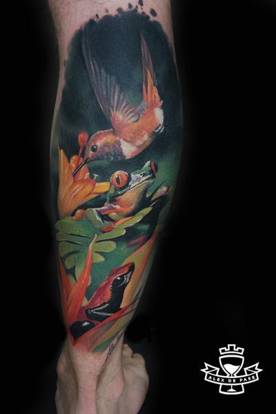Realistic Calf Hummingbird Frog Tattoo by Alex de Pase