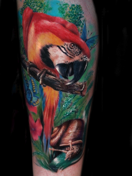 Realistic Calf Parrot Tattoo by Alex de Pase