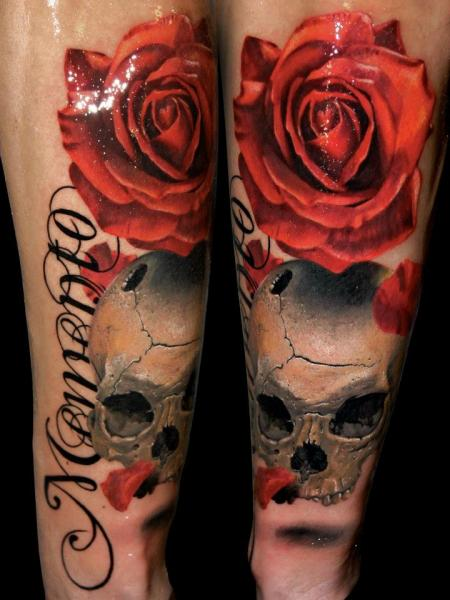 Realistic Calf Flower Skull Rose Tattoo by Alex de Pase