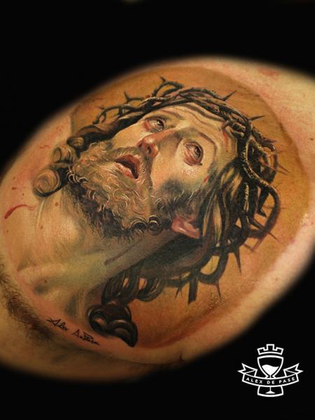 Realistic Chest Jesus Tattoo by Alex de Pase