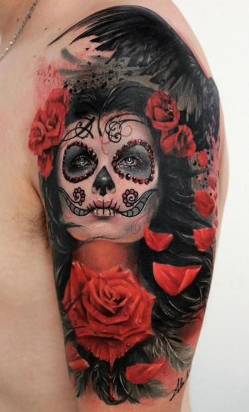 Shoulder Flower Mexican Skull Tattoo by Alex de Pase