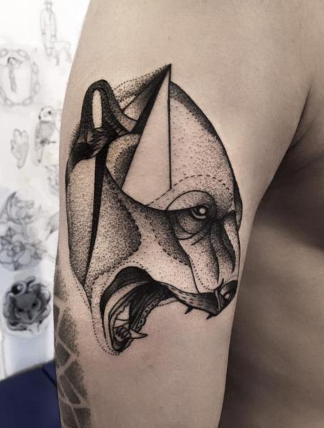 Arm Bear Dotwork Tattoo by Michele Zingales