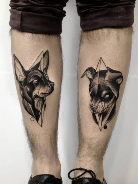 Calf Dog Dotwork Tattoo by Michele Zingales