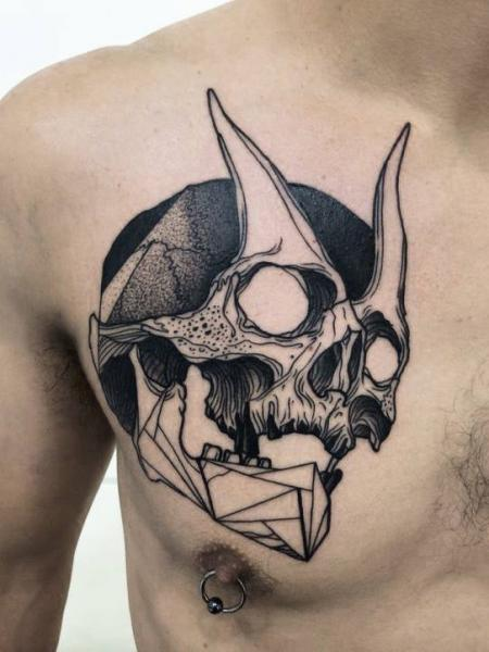 Chest Skull Devil Tattoo by Michele Zingales