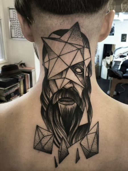 Neck Dotwork Diamond Men Tattoo by Michele Zingales