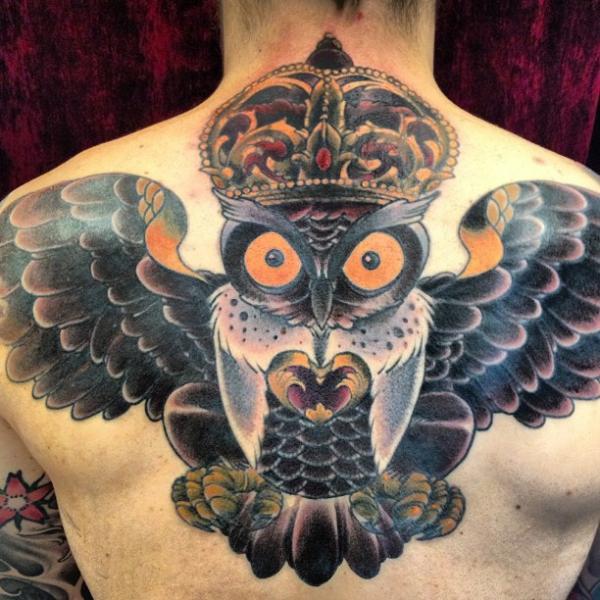 Old School Back Owl Tattoo by Malort
