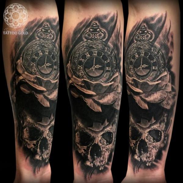 Arm Clock Flower Skull Tattoo by Coen Mitchell