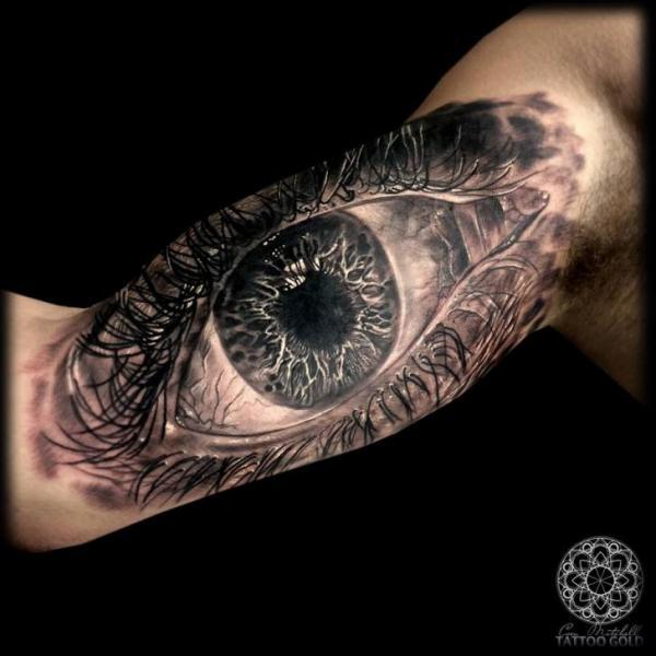 Arm Realistic Eye Tattoo by Coen Mitchell