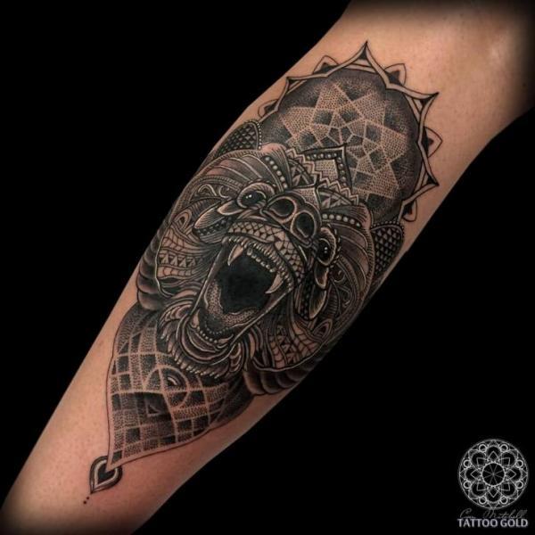 Calf Bear Dotwork Tattoo by Coen Mitchell