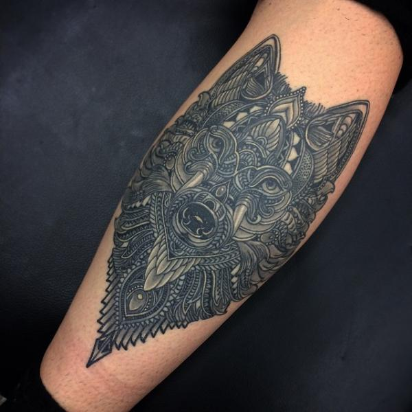 Calf Wolf Tattoo by Coen Mitchell