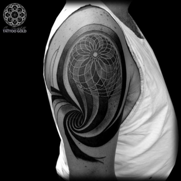 Shoulder Dotwork Abstract Tattoo by Coen Mitchell