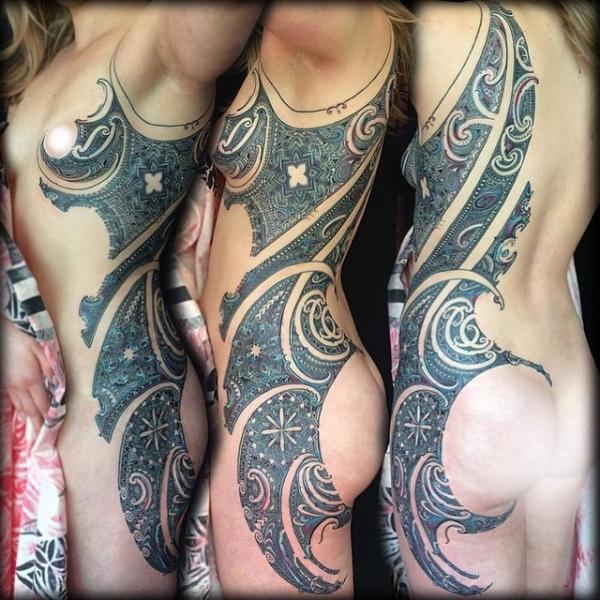 Side Tribal Dotwork Tattoo by Coen Mitchell