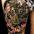 Realistic Tiger Thigh tattoo by Coen Mitchell