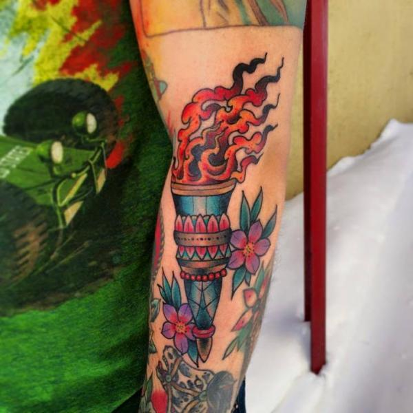 Arm New School Flame Tattoo by Sacred Tattoo Studio