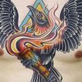 New School Chest Belly Crow Flame tattoo by Sacred Tattoo Studio