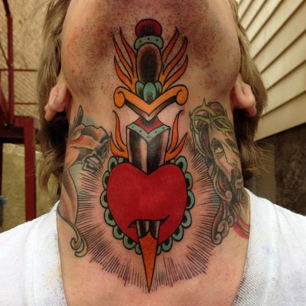 Heart Neck Chin Dagger Tattoo by Sacred Tattoo Studio