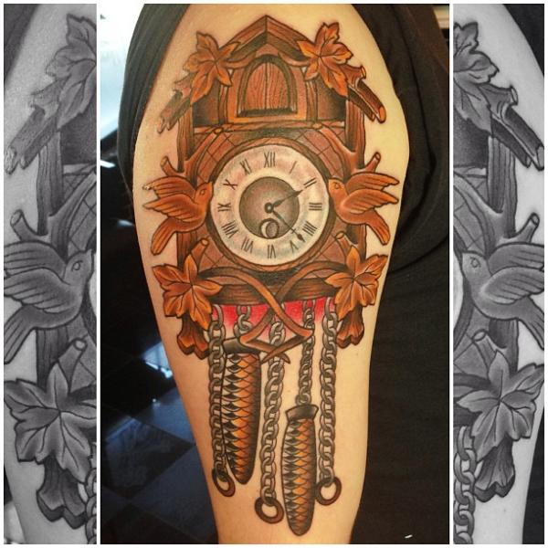 Shoulder Clock New School Tattoo by Captured Tattoo