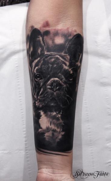 Tatuaggio Braccio Realistici Cane di Silvano Fiato