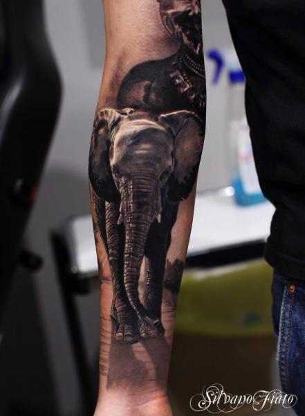 Tatuaggio Braccio Realistici Elefante di Silvano Fiato