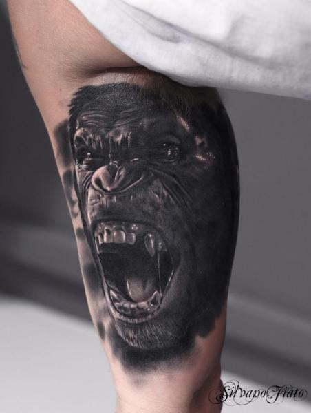 Arm Realistic Gorilla Tattoo by Silvano Fiato