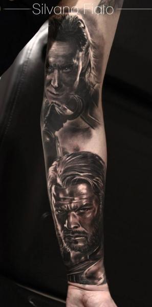 Arm Portrait Realistic Tattoo by Silvano Fiato