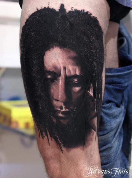 Portrait Realistic Bob Marley Thigh Tattoo by Silvano Fiato