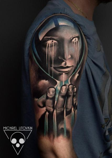 Shoulder Clepsydra Tattoo by Michael Litovkin