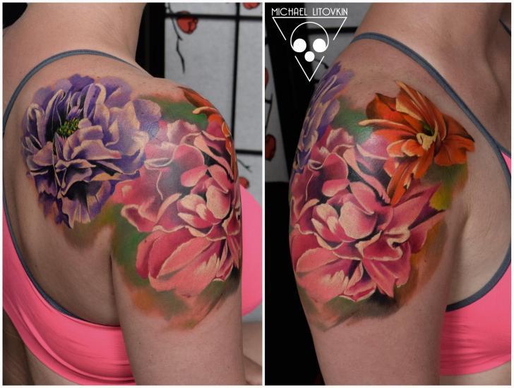 Shoulder Realistic Flower Tattoo by Michael Litovkin