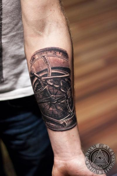 Arm Realistic Clock Tattoo by Slawit Ink