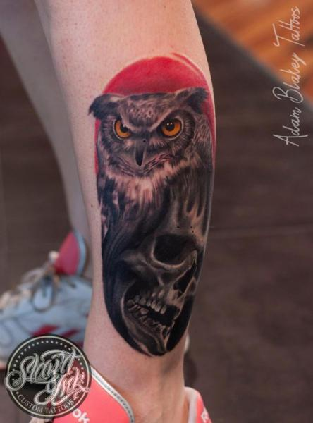 Leg Skull Owl Tattoo by Slawit Ink