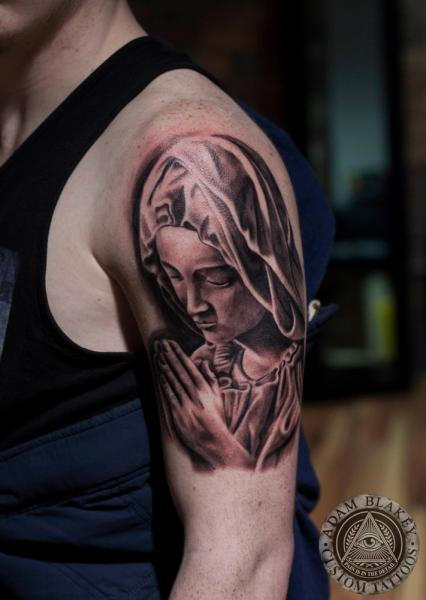 Shoulder Religious Tattoo by Slawit Ink