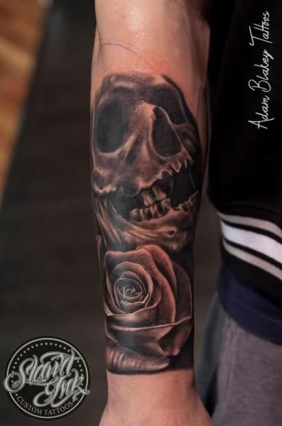 Realistic Flower Skull Tattoo by Slawit Ink
