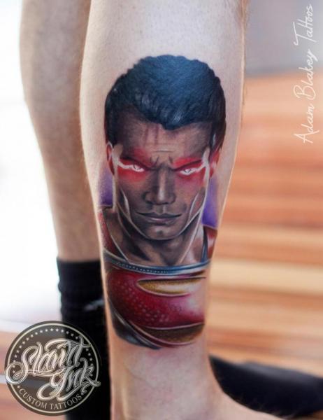 Leg Superman Tattoo by Slawit Ink