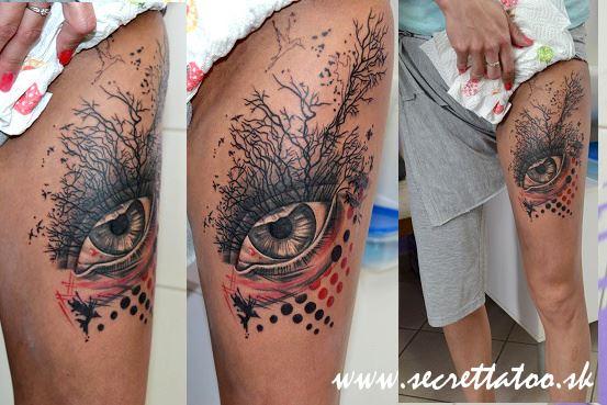 Eye Tree Thigh Tattoo by Secret Tattoo & Piercing