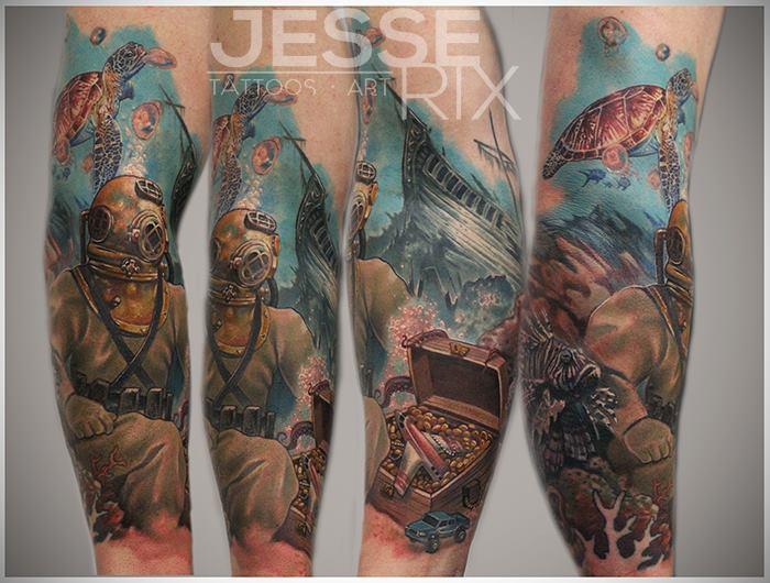 Arm Sea Turtle Diver Fish Treasure Tattoo by Jesse Rix Tattoo Art