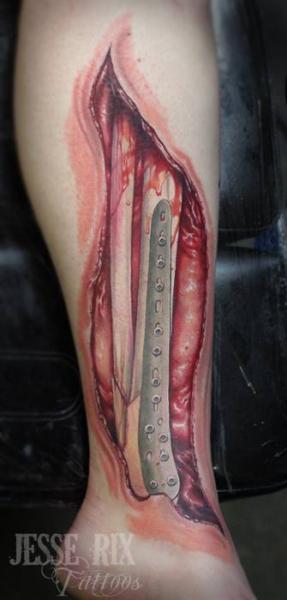 Biomechanical Leg Scar Tattoo by Jesse Rix Tattoo Art