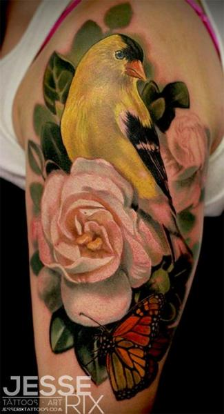 Shoulder Realistic Flower Bird Tattoo by Jesse Rix Tattoo Art