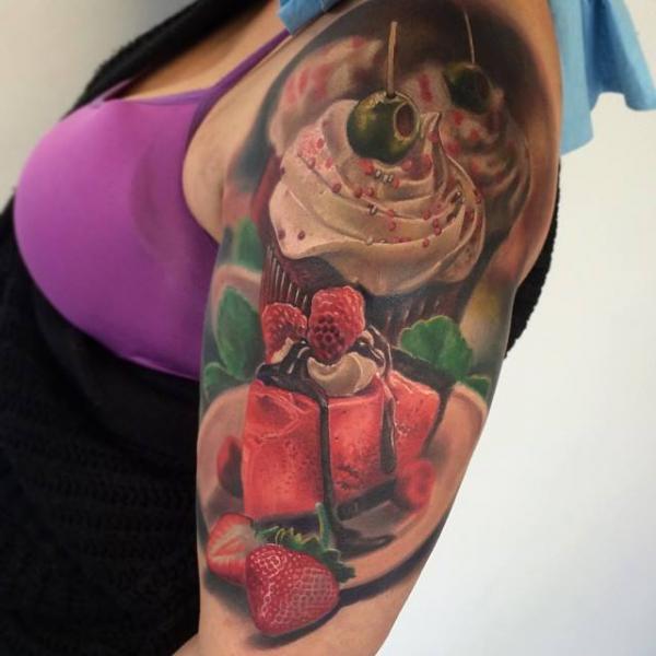 Shoulder Realistic Cake Tattoo by Jesse Rix Tattoo Art